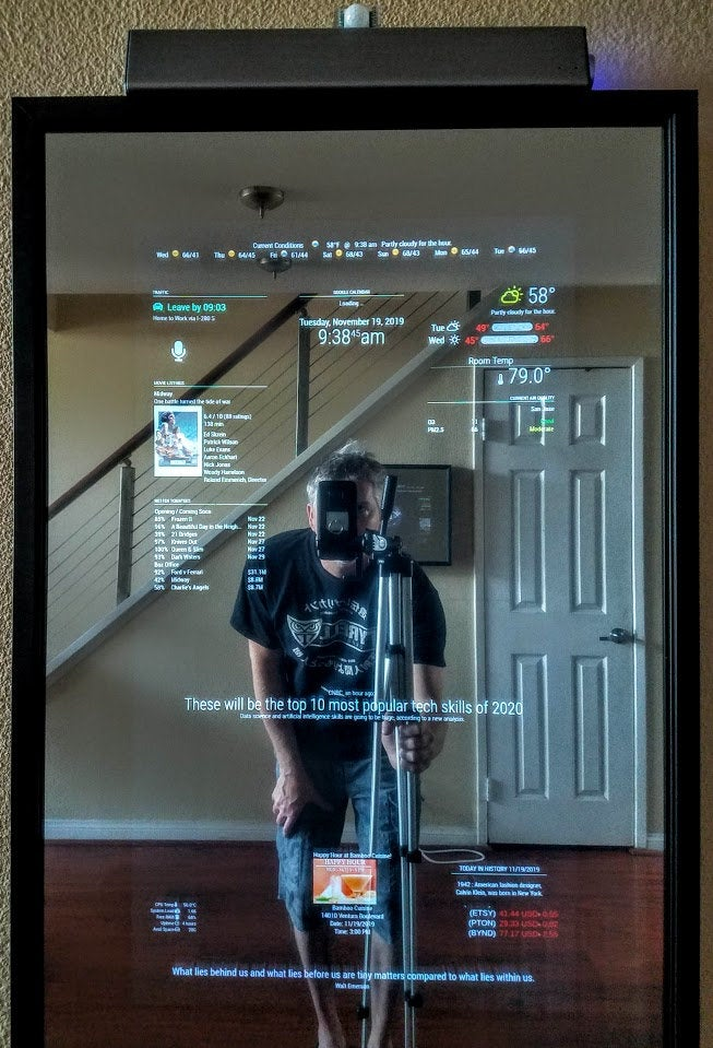 "Full-Length Alexa Smart Mirror - 32""HD Portrait Display in a  62"" X 24""X 3"" Black Contemporary Frame"