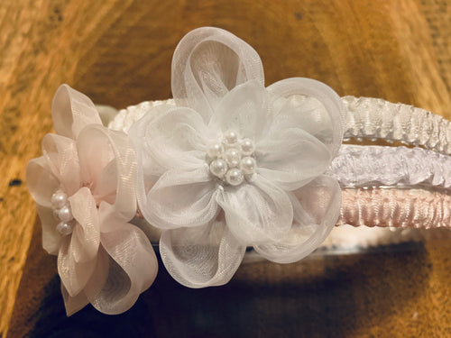 J41 - Elastic Flower Headband With Pearl