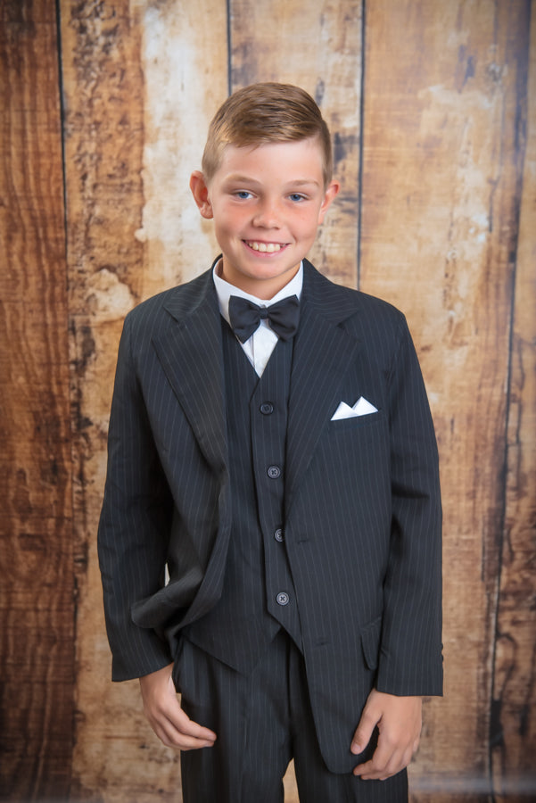 1255 - 6 Piece Black Pinstripe Suit