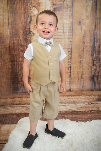 S652 - 5 Piece Sand Short Vest Suit
