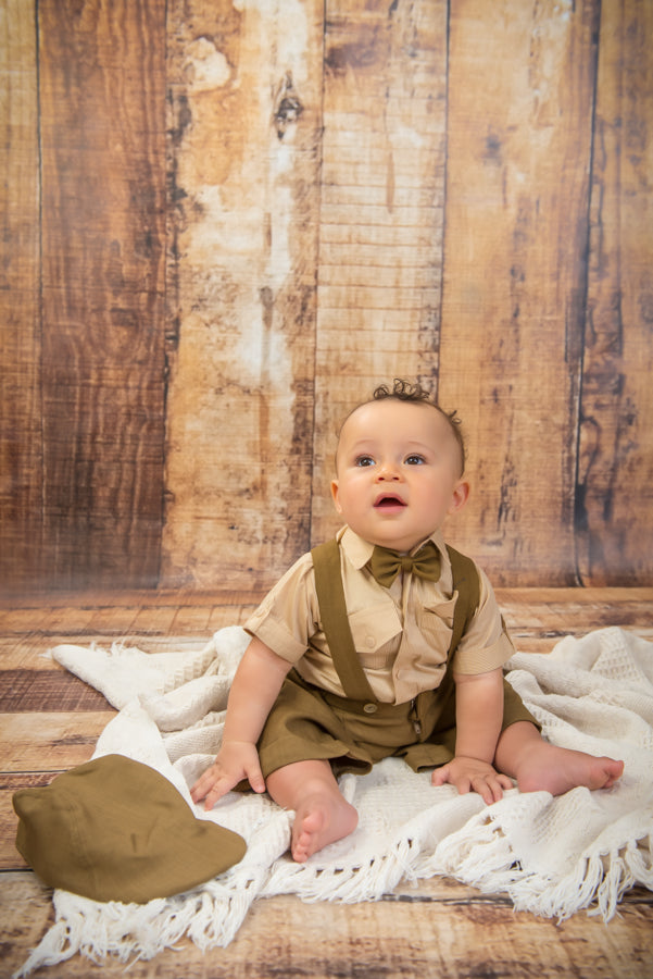 Limited Edition S1666 - 4 Piece Light Brown Suspender Suit