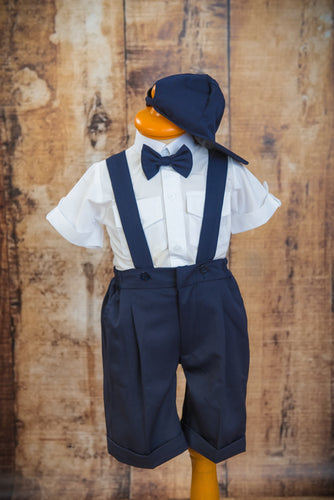 S1654 - 4 Piece Dark Navy Suspender Suit