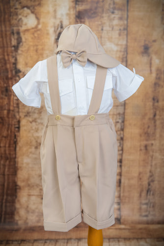 S1660 - 4 Piece Beige Suspender Suit