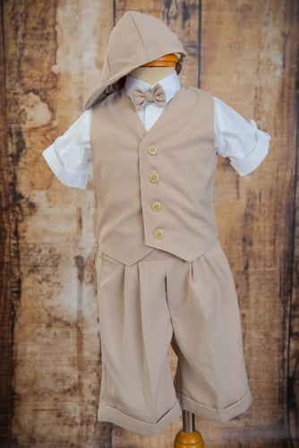 S660 - 5 Piece Beige Short Vest Suit