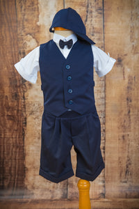 S654 - 5 Piece Dark Navy Short Vest Suit