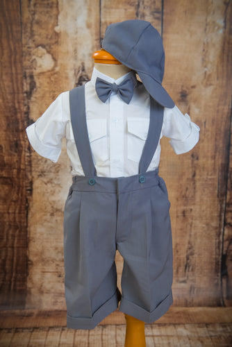 S1650 - 4 Piece Light Grey Suspender Suit