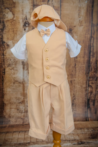 S658 - 5 Piece Pale Brown Short Vest Suit