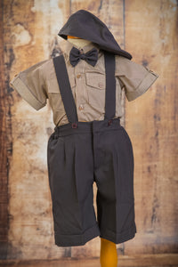 Limited Edition S1664 - 4 Piece Dark Brown Suspender Suit