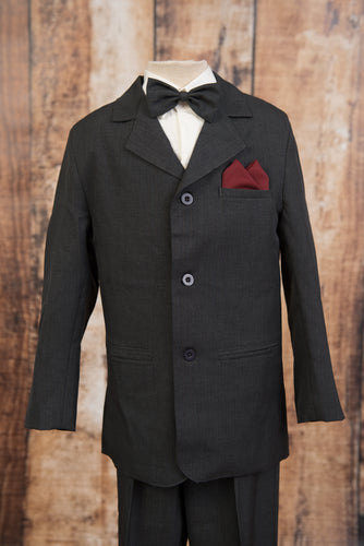 1245 - 5 Piece Charcoal Pinstripe Suit