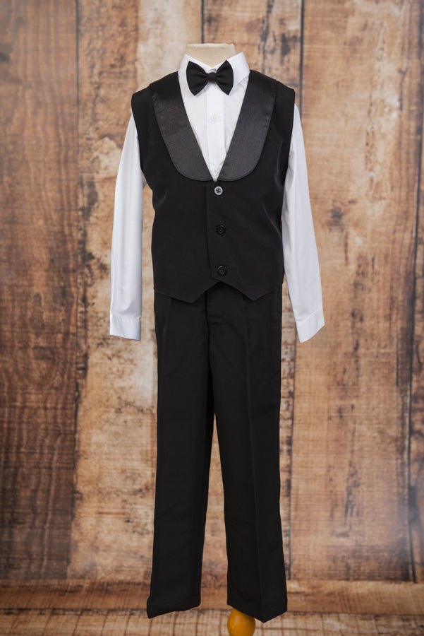 630A - Black Satin Lapel Vest