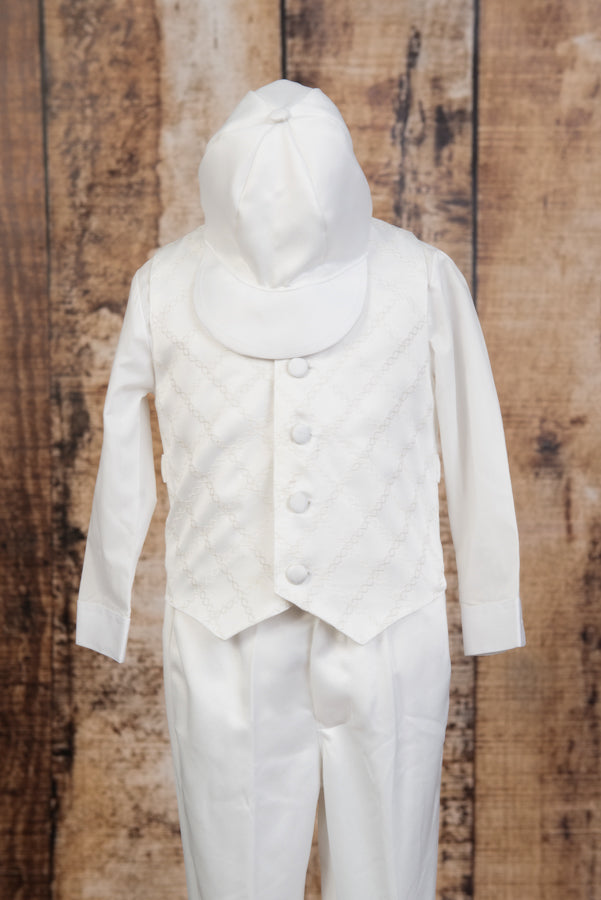 252 - 5 Piece Embroidered Off White Vest Suit