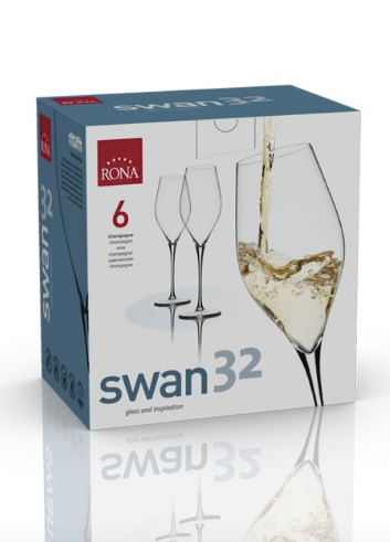 "RONA COPA	SWAN  Art. No. 6650 320 Champagne 320ml 11oz H246mm 9¾"" D76mm 3"""