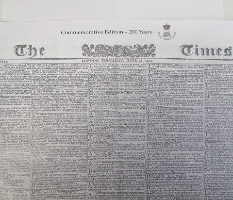 W13 - Commemorative Replica Edition of the Times Newspaper June 22nd 1815