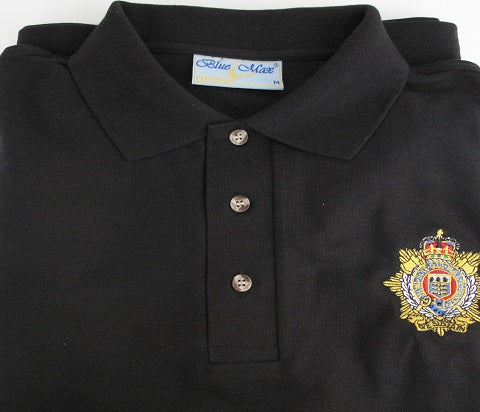 P58 - Royal Army Ordnance Corps Polo Shirt illustrated with RLC Badge