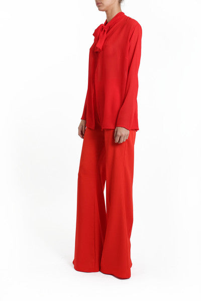 Red High Waisted Flares