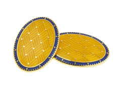 BASKET BLUE/YELLOW ENAMEL CUFFLINKS