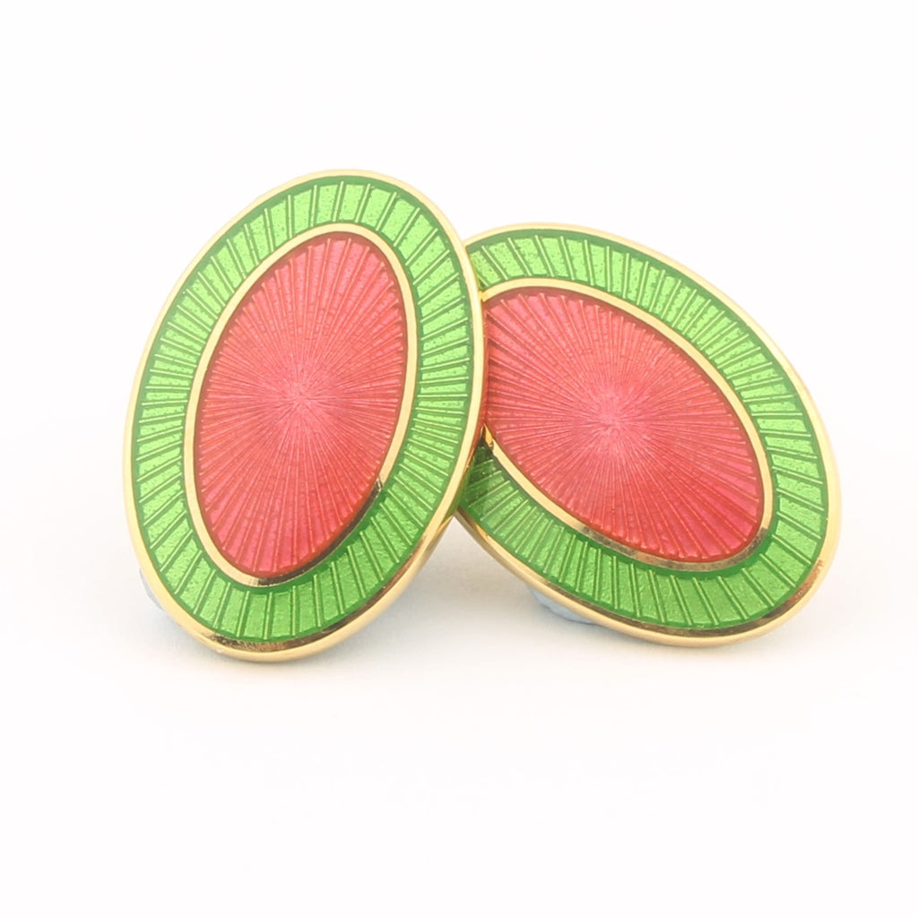 Double Oval Green and Pink enamel cufflinks in 18k gold
