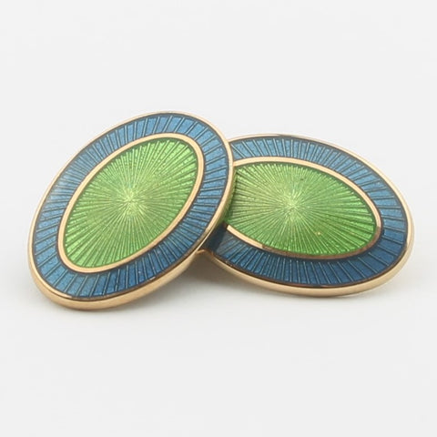 DOUBLE OVAL BLUE/GREEN ENAMEL CUFFLINKS