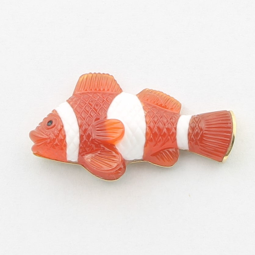 Clown fish cufflinks 18k yellow gold