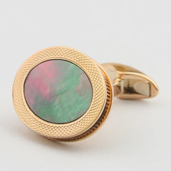 TAHITIAN MOTHER OF PEARL CUFFLINKS - REEDED EDGE