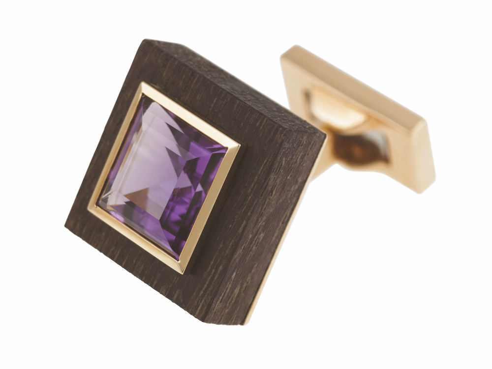 amethyst wood gold cufflink