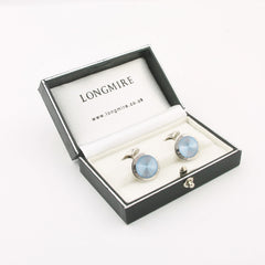 ice blue enamel fluted cufflinks 18k white gold in a box