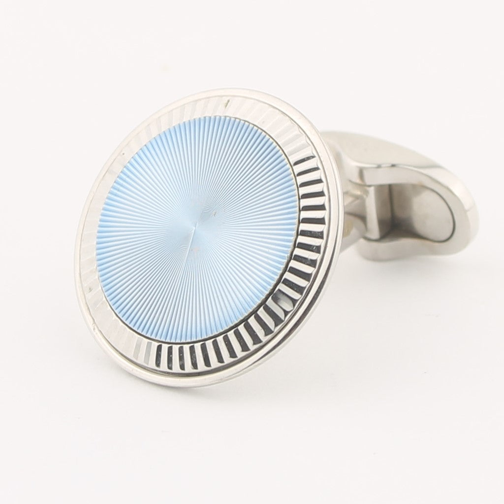 ice blue enamel fluted cufflinks 18k white gold