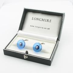 One pair of synthetic spinel disc cufflinks 18k white gold