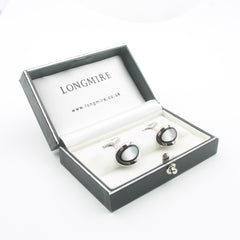 Onyx and mother of pearl cufflinks boxed