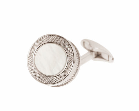 MOTHER OF PEARL CUFFLINKS - REEDED EDGE