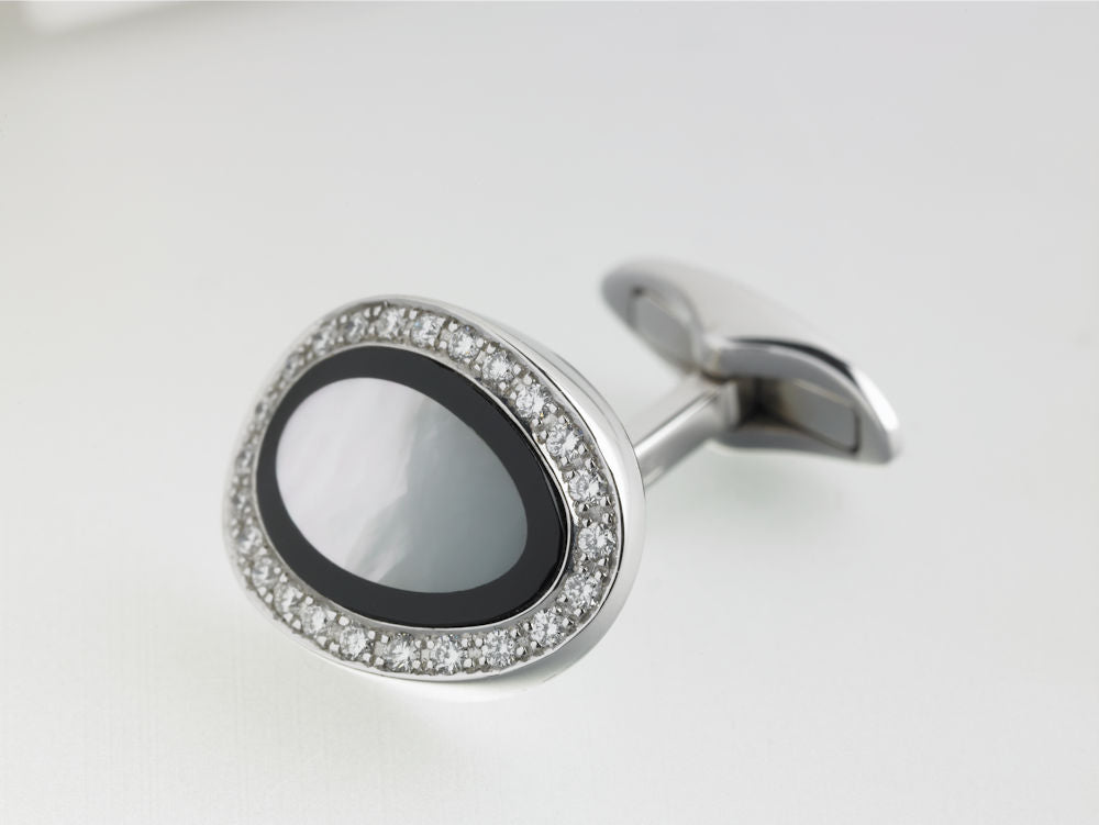 DIAMOND SET ONYX AND MOTHER OF PEARL CUFFLINKS