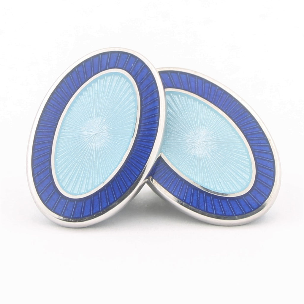 Double Oval blue/light blue cufflinks in sterling silver