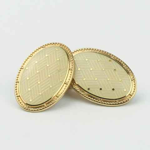 BASKET CREAM ENAMEL CUFFLINKS