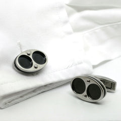 steel cufflinks in cuff