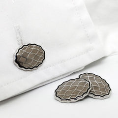 WAVY BLACK/TRANSPARENT GREY ENAMEL CUFFLINKS