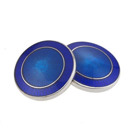 DOUBLE CIRCLE BLUE/BLUE ENAMEL CUFFLINKS