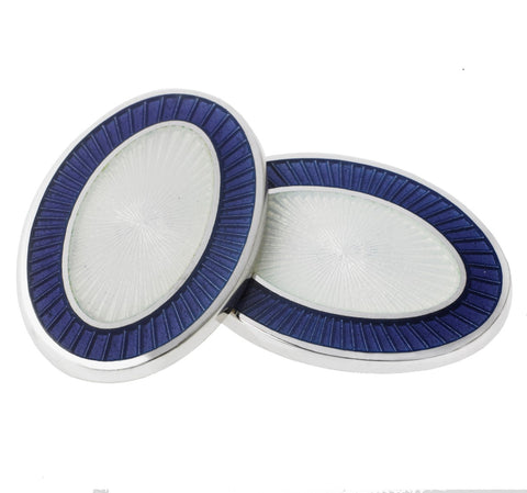 DOUBLE OVAL PURPLE/WHITE ENAMEL
