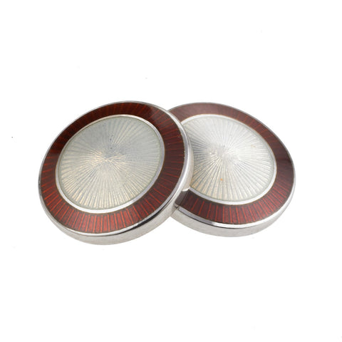 DOUBLE CIRCLE RED/WHITE ENAMEL CUFFLINKS