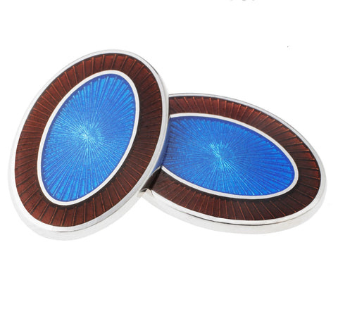 DOUBLE OVAL BROWN/BLUE ENAMEL CUFFLINKS