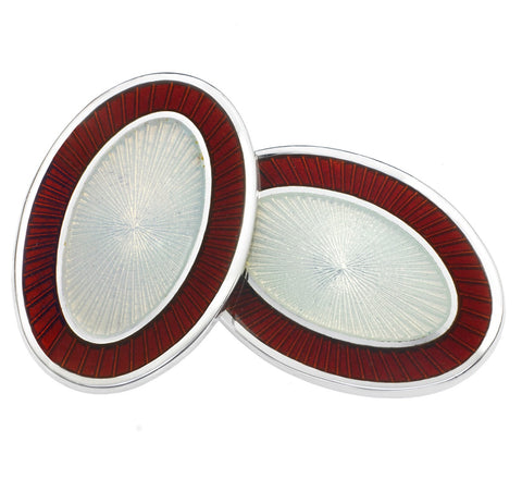 DOUBLE OVAL RED/WHITE ENAMEL CUFFLINKS