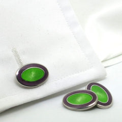 DOUBLE OVAL PURPLE/GREEN ENAMEL