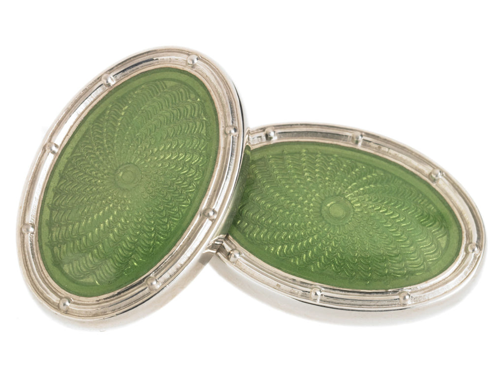 SPIRAL PALE GREEN ENAMEL CUFFLINKS