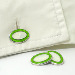 DOUBLE OVAL GREEN/WHITE ENAMEL