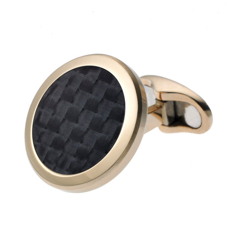 CARBON WEAVE CIRCLE CUFFLINKS