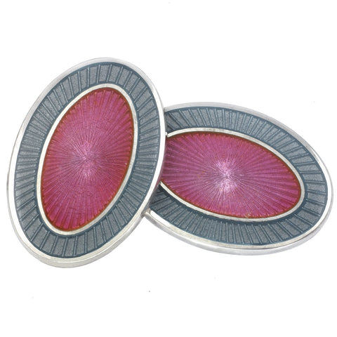 DOUBLE OVAL GREY/PINK ENAMEL CUFFLINKS