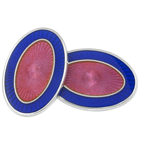 DOUBLE OVAL BLUE/PINK ENAMEL CUFFLINKS