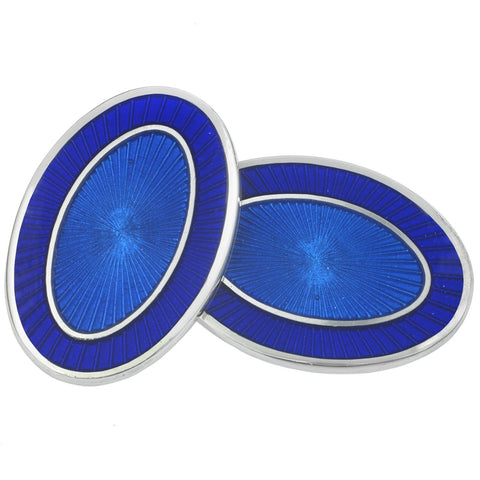 DOUBLE OVAL BLUE/BLUE ENAMEL CUFFLINKS
