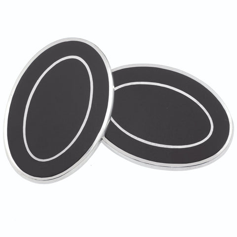 DOUBLE OVAL BLACK/BLACK ENAMEL CUFFLINKS