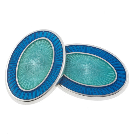 DOUBLE OVAL BLUE/AQUAMARINE ENAMEL CUFFLINKS