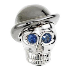 white gold and sapphire skull cufflinks